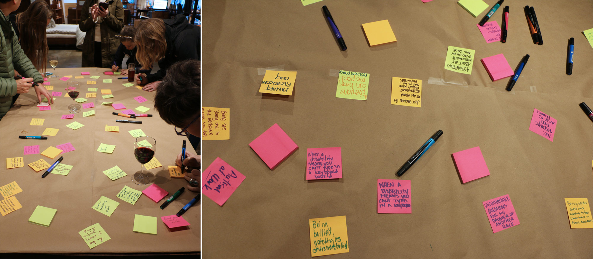 Event attendees writing barriers to inclusion on colorful stickie notes.
