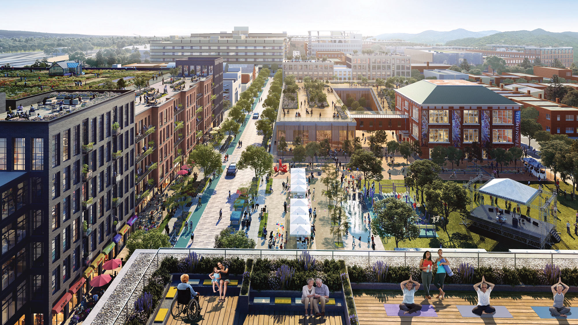 A concept rendering of a mixed-use district in Washington DC, showing a variety of indoor and outdoor spaces and multi-generational users.