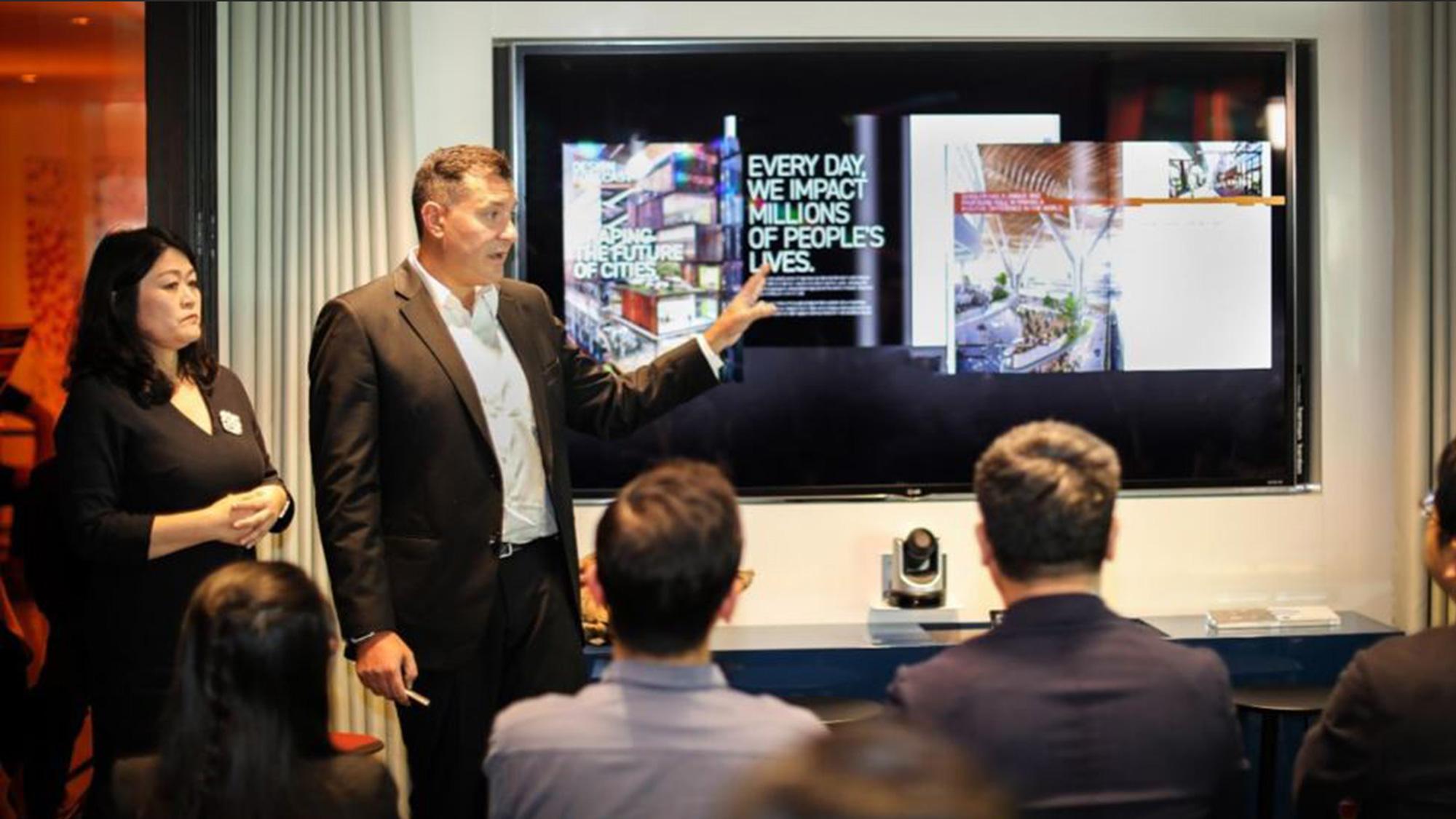 Gensler China leaders deliver the opening presentation for Gensler Bejing's Design Forecast Local event