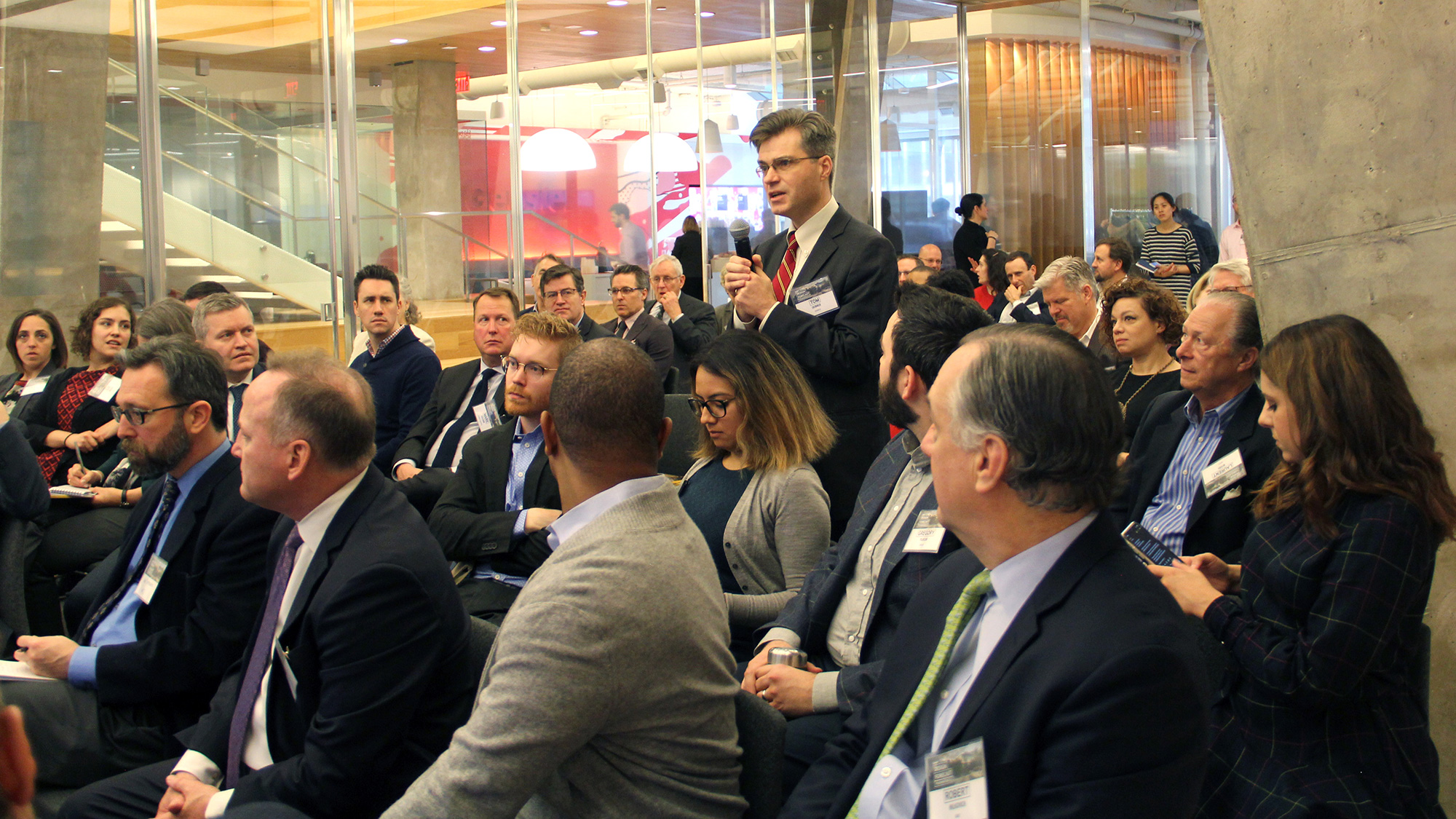 An audience member for Gensler D.C.'s Design Forecast Local event