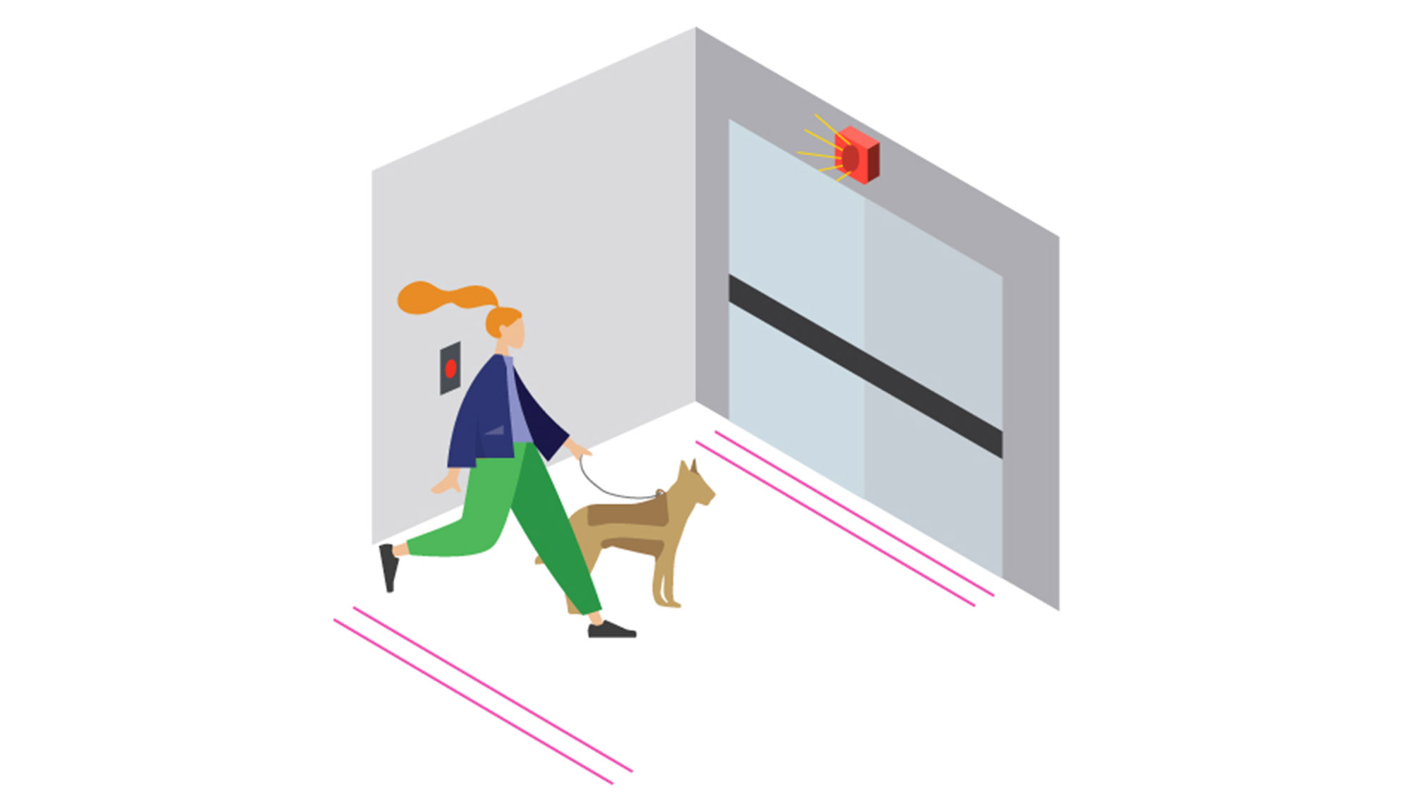 A graphic illustration of a person with a service animal walking towards an exit with lines on the floor indicating spacing for physical distancing.