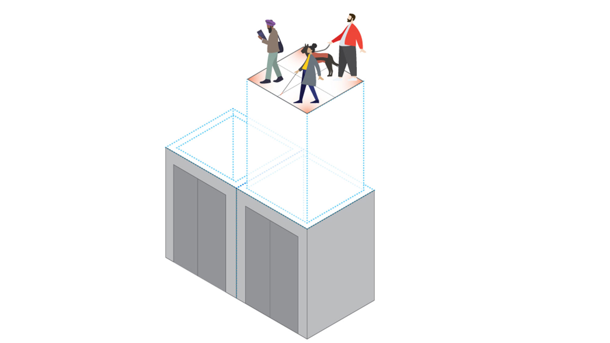 A graphic illustration showing two elevators showing people physically distanced within the elevator.