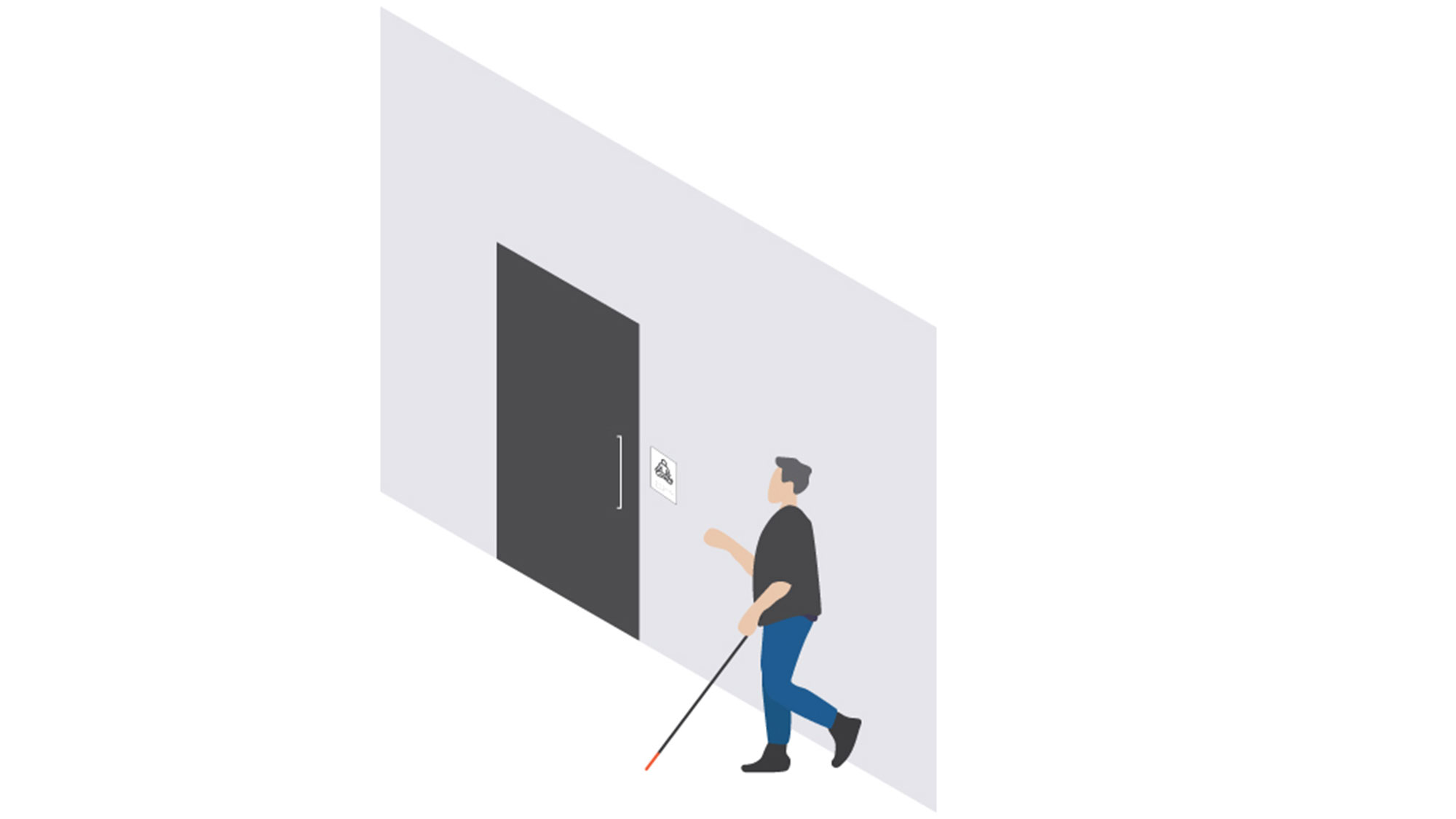 A graphic illustration of a person walking along a wall with a white cane, coming up to signage adjacent to a tonally contrasted door.